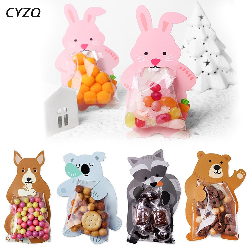 10pcs/lot Cute Animal Bear Rabbit Koala Candy Bags Greeting Cards Birthday Party Wedding Cookie Candy Packaging Bag