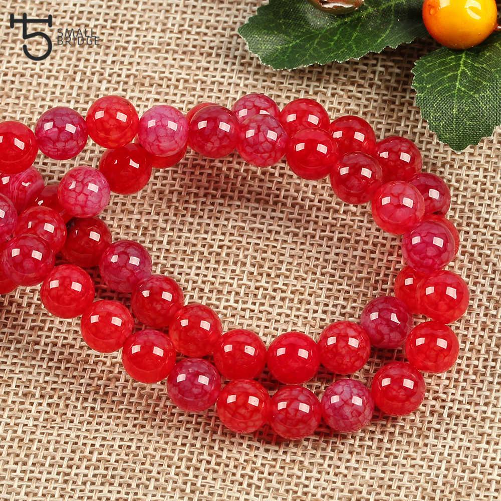6 8 10mm cuentas redondas de Coral rojo para hacer joyería pulsera Diy collar espaciador cuentas de piedra natural al por mayor S506