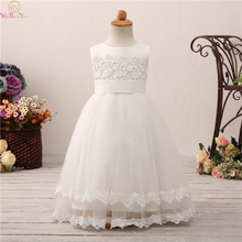 2019 Sleeveless Floor Length Ball Gown Flower Girls Dresses For Wedding Elegant Appliques With Bow First Communion vestido Gowns цена и фото