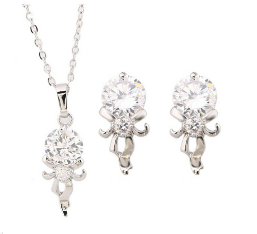 OMH wholesale fashion 18 KT gold white magic mirror Women girls gift Necklace + Earrings Jewelry sets TZ131