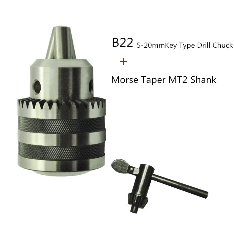 Lathe Drill Chuck 5 to 20mm B22 With No.2 Morse Taper MT2 with Key Hight Quality Morse Taper Shank Drill Chucks Set mt 2 morse taper shank with 3 16mm spanner chuck 2 morse taper shank b16 heavy spanner drill chuck for twist drills chuck