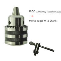 Lathe Drill Chuck 5 To 20mm B22 With No 2 Morse Taper MT2 With Key Hight