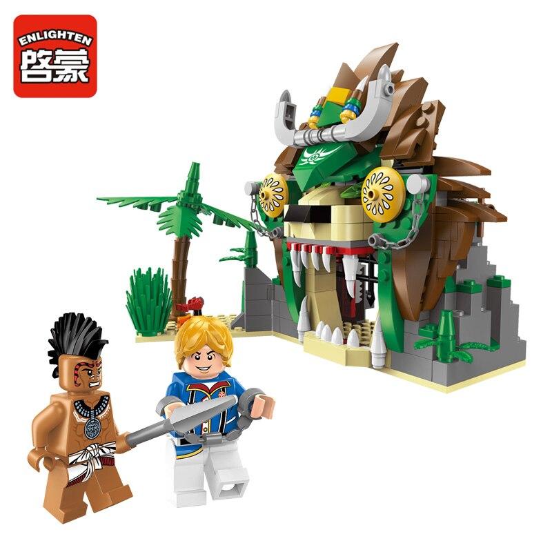 ENLIGHTEN 328Pcs Pirate Series Lion Prison Building Blocks Set Model Educational Assembling DIY Bricks Kids Toys Children Gifts