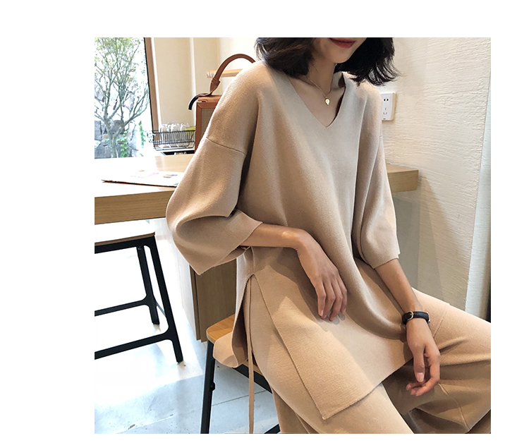 Knitting Female Sweater Pantsuit For Women Two Piece Set Knitted Pullover V-neck Long Sleeve Bandage Top Wide Leg Pants  Suit 22