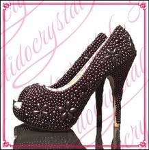 Aidocrystal heißer verkauf handgemachten schwarzen perlen blume damen high heels peep toe pumps schuhe