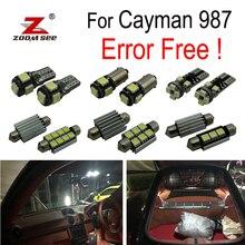 19 шт. светодиодный лампы номерных знаков+ интерьер купола Карта лампочка полный комплект для Porsche Cayman 987(2005-2012) светодиодный сзади потолочный плафон