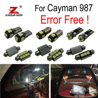 19pcs LED License plate lamp + Interior dome map Lights bulb full Kit For Porsche Cayman 987 (2005 2012) LED Rear dome light
