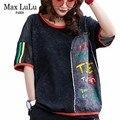 Max LuLu 2019 verano moda coreana señoras Punk camisetas mujeres Sexy malla negro camisetas Vintage Patchwork impreso camiseta de talla grande