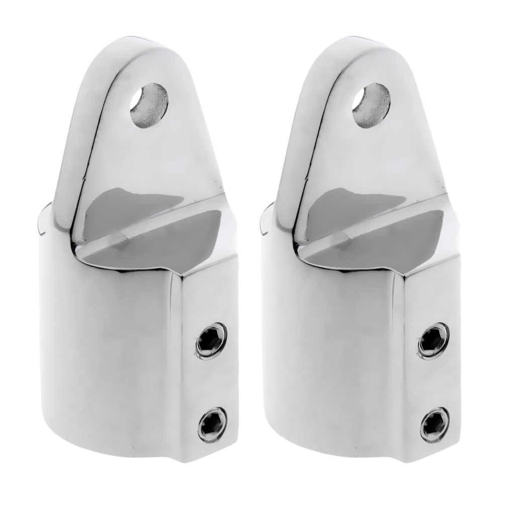 2x Polished Dual Eye End Cap Bimini Top Fitting Marine Stainless Steel 22mm