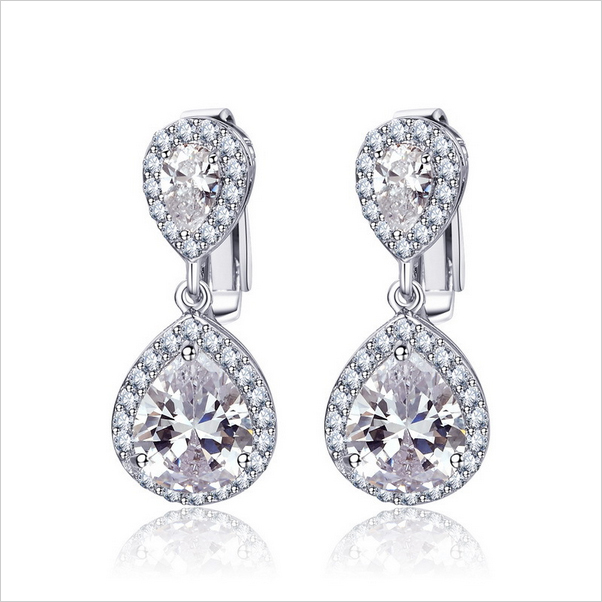Avola Clip On Drop Earrings For Women Rhodium Plated Double Waterdrop Cz Diamond Brincos Jewelry 26mm
