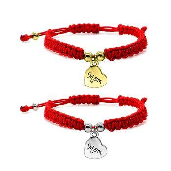 Cadena de hilo rojo pulseras trenzadas cábala de la suerte corazón encanto letra de la suerte brazaletes de mamá para los regalos de la joyería del cumpleaños de la madre