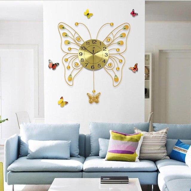 Online Shop Geekcook Golden Butterfly Wall Clock Living Room ...