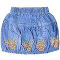2016 девушки-Линии выше колена вышивка цветочный узор юбки летом стиль Джинсы для детей девушки XML-67085