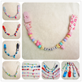Personalised -Any name Hand made Funny colourful beads dummy clip holder pacifier clips soother chain for baby DC001