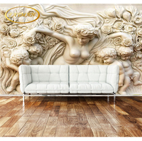 Custom Photo Wallpaper 3D White Marble Embossed Figure Ceiling Corridor Living Room Banquet Hall Villa Waterproof