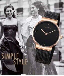 Image 4 - Moda basit bayan izle lüks şık gül altın siyah kadın saatler Top marka CHENXI su geçirmez rahat kadınlar elbise saat