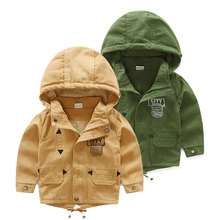 wt-4910 Baby Hooded windbreaker spring 2017 men's children's Korean version of the new letter jacket windbreaker Trench