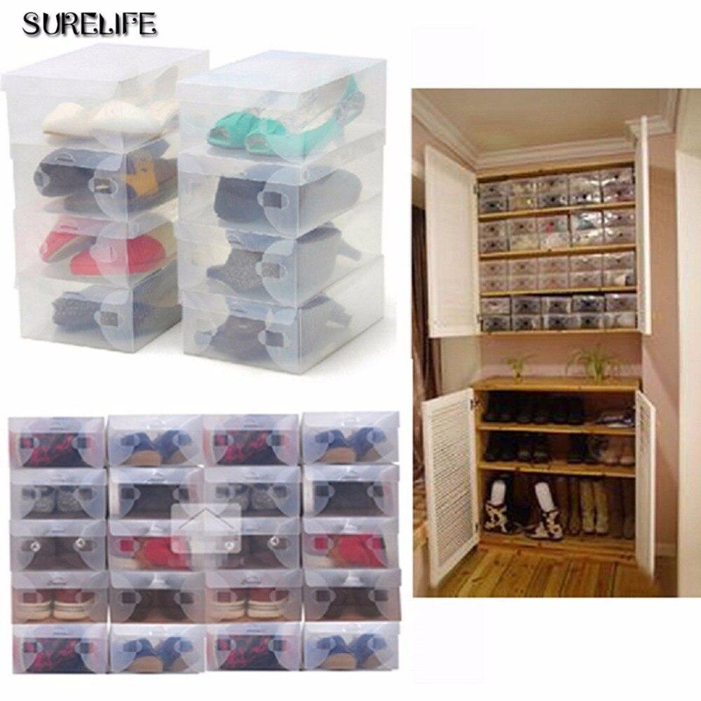 10pcs children/women/men Transparent Makeup Organizer Clear Plastic Shoes  Storage Boxes Foldable Shoes Case Holder for women