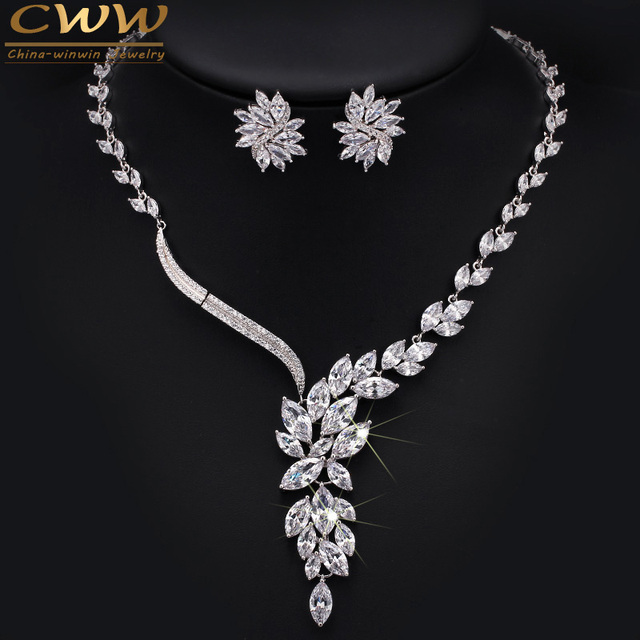 Luxury Dropping Flower Cubic Zirconia Simulated Diamond Crystal Bridal Wedding Costume Jewelry Sets For Brides T048