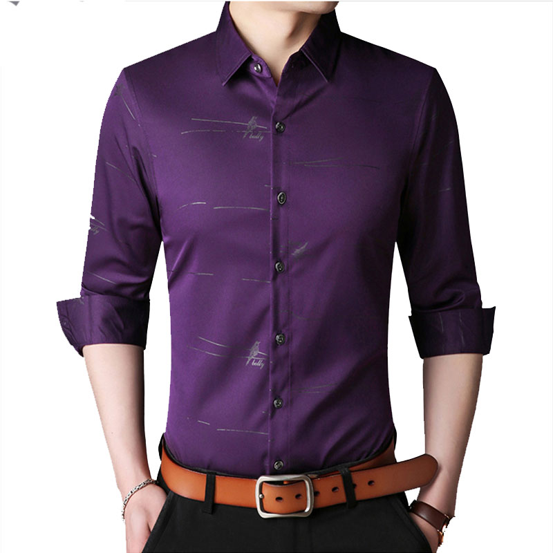 Shedu 2018 Spring Summer New Arrival Camisa Social Masculina Long Sleeve Cotton Casual Shirts Brand Chemise Man A18016