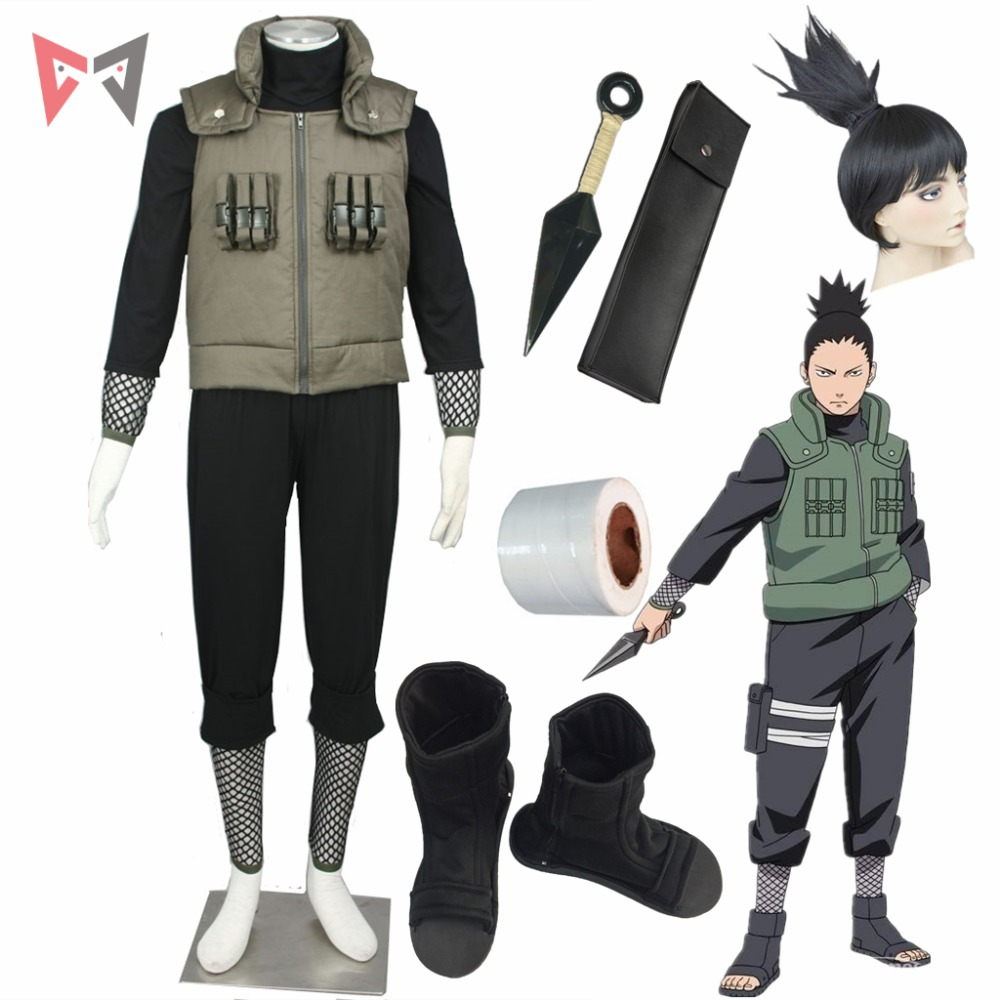 Anime Naruto Cosplay Nara Shikamaru Cosplay Costumes Vest Boot Bandage Wig For Christmas Halloween Child Size Plus Size Clotes