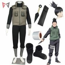 Cosplay de Naruto Shikamaru de Anime, disfraz de Naruto, chaleco, bota, Peluca de vendaje para Navidad, Halloween, niño, talla grande, clotes