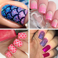 12 Sheets   Nail Art Manicure Stencil Stickers Stamping Nail Vinyls Tips