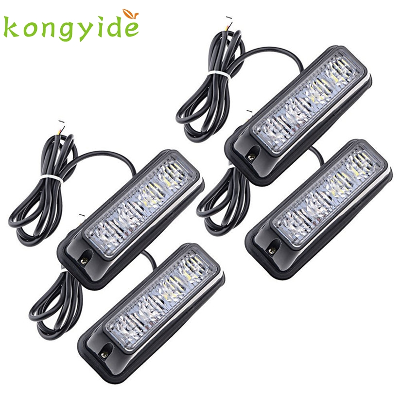 Car-styling kongyide 4pc Waterproof Car Truck Accessory 4 LED Strobe Flash Amber Light Lamp Bulb td24 dropship