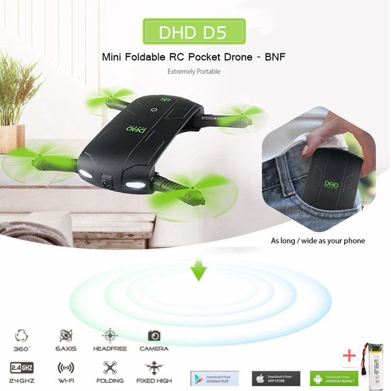 DHD D5 Selfie FPV Drone With HD Camera Foldable RC Pocket Drones Phone Control Helicopter Mini Dron VS JJRC H37 523 Quadcopter 2017 new jjrc h37 mini selfie rc drones with hd camera elfie pocket gyro quadcopter wifi phone control fpv helicopter toys gift page 5