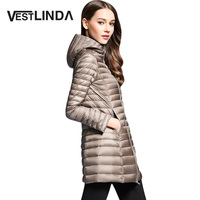 VESTLINDA 2017 Winter Jacket Women Hooded Long Jackets White Duck Down Ultra Light Parka Slim Down