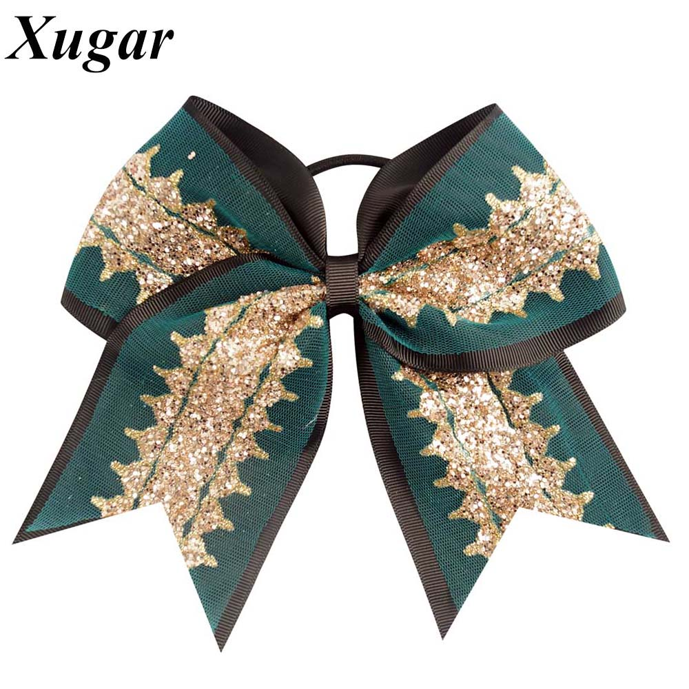 7''  New Style Hot Sale 6 Colors Fashion High Quality Large Grosgrain Ribbon Glitter Cheerleading Bows With Elastic For Girls new product high quality grosgrain