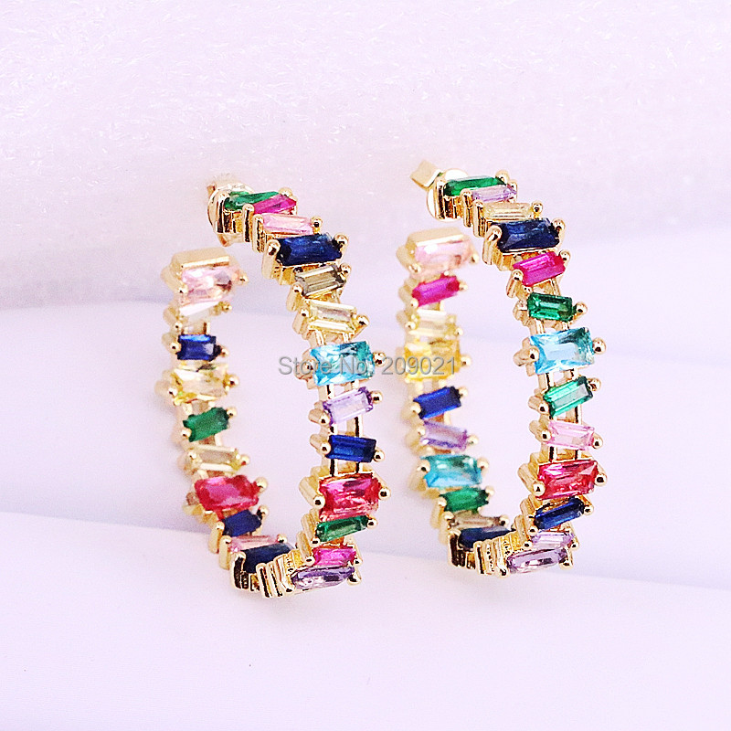 5Pairs 32mm Gold color pave setting shiny rainbow CZ circle Gorgeous fashion women stud earring