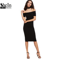 SheIn Womens Sexy Party Night Club Dress Womens Dresses New Arrival Black Off The Shoulder With