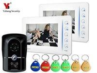 7 Inch Video Door Phone Doorbell Intercom Video Entry Intercom System With Access Card RFID Keypad