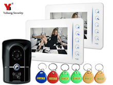 Yobang Security 7″ Video Door Phone Doorbell Video Entry Intercom System With Access Card RFID Keypad With 4CH-Monitor Function