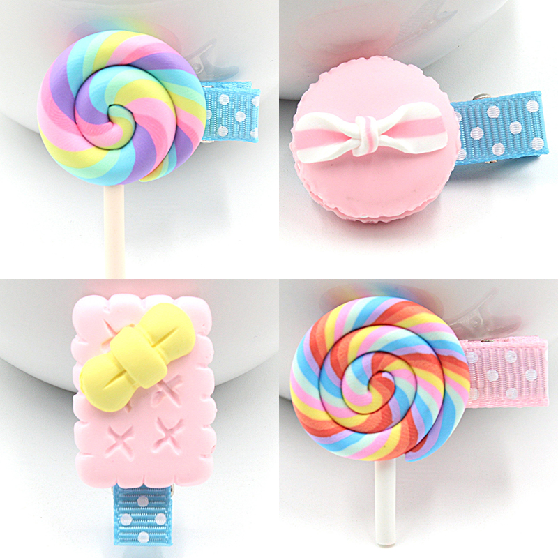1 PCS New Korean Angela Cute Baby Girls Hairpins Polymer Clay Stereo Cartoon Biscuits Candy Hair Clips Kids Children Accessories 2 pcs 2017 new korean striped bowknot cute baby clip girls hairpins cartoon kitten hair clips kids children accessories