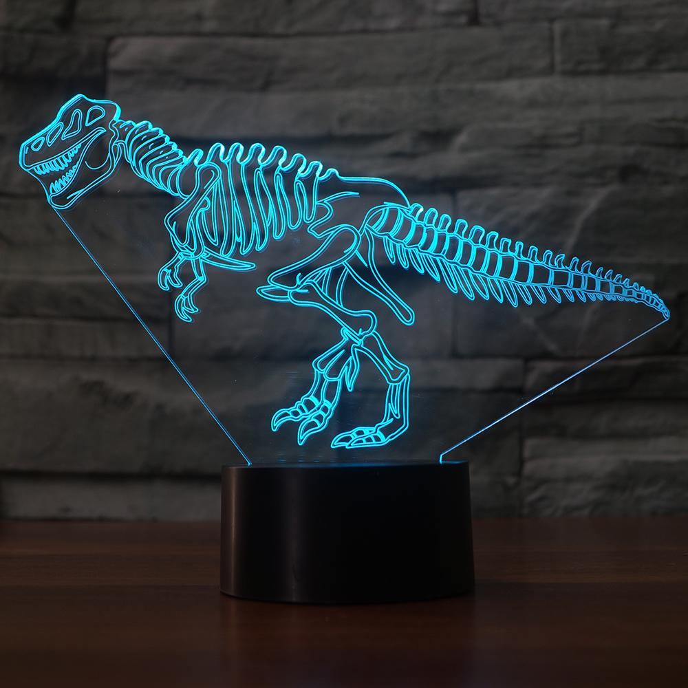 3D Dinosaur Bone Modelling Night Light LED Touch Button Table Lamp USB 7 Colors Changing Bedroom Lighting Decor Kid'S Toy Gifts 3d fire engine modelling table lamp 7 colors changing fire truck car night light usb sleep light fixture bedroom decor kids gift