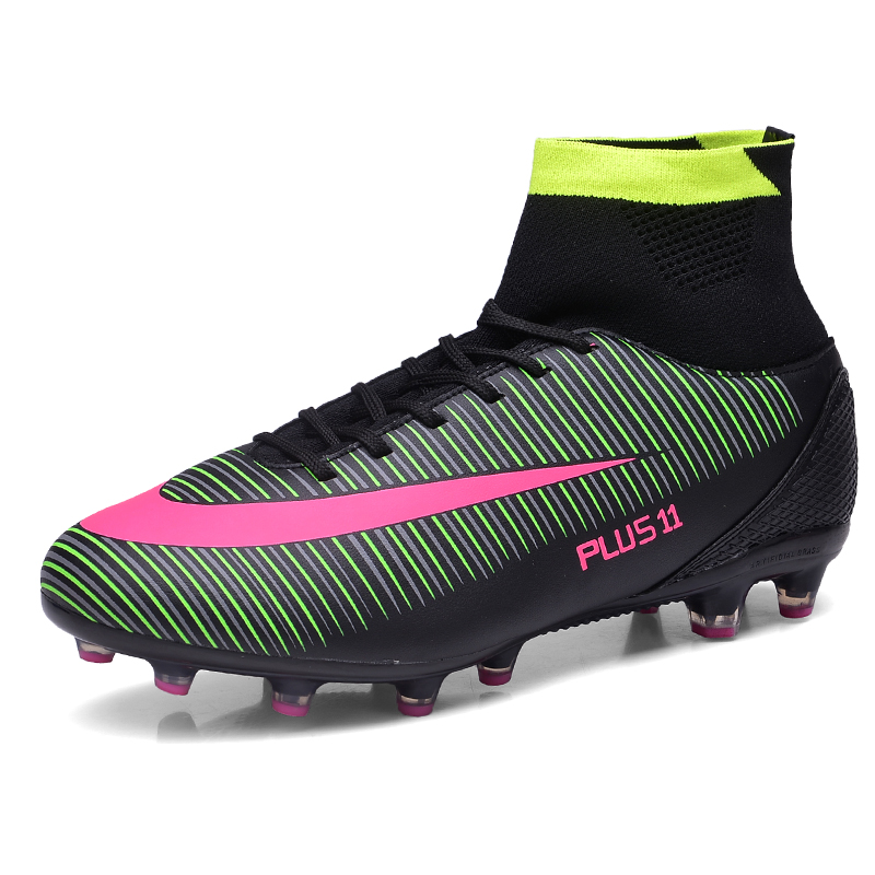 ZHENZU Professional Football Shoes Kids High Ankle Soccer Shoes Long Spikes Outdoor Training Boots Sports Sneakers