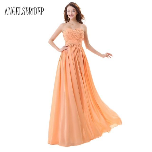 19273c85a31 ANGELSBRIDEP Light Orange Bridesmaid Dresses Charmming Pleated Top  Sweetheart Formal Prom Dress 2017 Long Special Occasion Dress