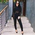 Moda mamelucos womens jumpsuit 2016 nueva celebrity negro perspectiva de manga larga del o-cuello de la cremallera flaco atractivo del club body de encaje