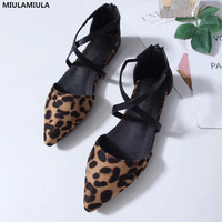 MIULAMIULA Brand Designers 2018 New Arrival Sexy Cross Tie Leopard Flock Sandals Zipper Woman Shoes Pointed Toe Lady Shoes 35 40