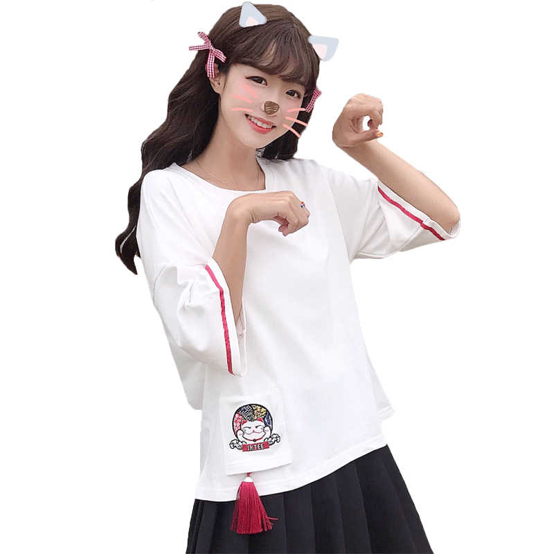 Керамические чашки Lucky Cat Футболка с нашивками Kawayi женская футболка с кисточками и коротким рукавом Осенняя Повседневная модная женская футболка и топы