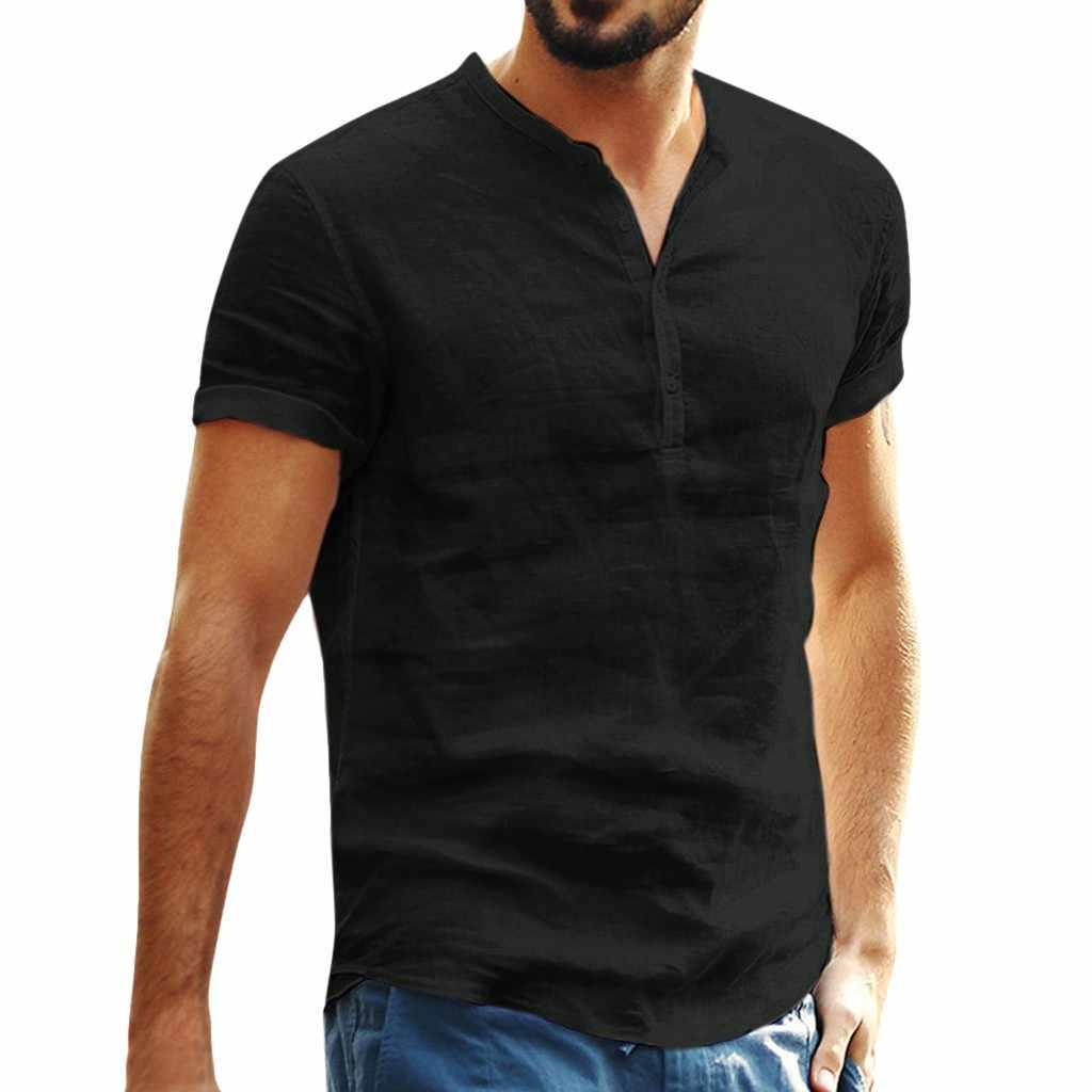 Ukuran T Shirt Pria Musim Panas 2019 Katun Linen Lengan Pendek Retro Hip Hop Kasual Pakaian Pria Lucu Kaos camisetas Hombre