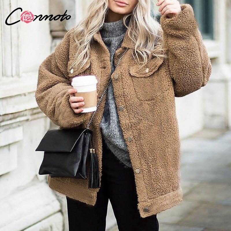 Conmoto Faux Fur Teddy Coats Women Shaggy Turndown Colloar Winter Coats Trendy Solid Casual Coats Jackets