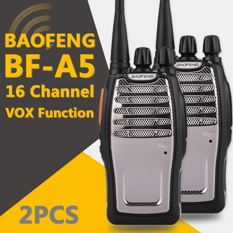 2 PCS BaoFeng UHF Walkie Talkie BF A5 16CH VOX Scrambler Function Free Shipping Two