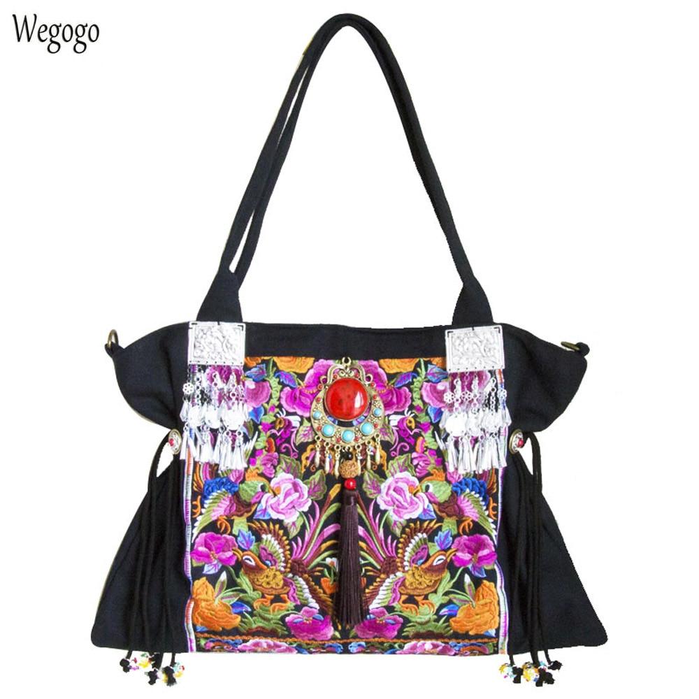 Original Boho India Women Handbag Floral Embroidery Shoulder Bag Beach Tassel Pendant Travel Messenger Bags Large Capacity Bags недорго, оригинальная цена