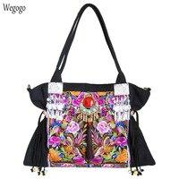 Original Boho India Women Handbag Floral Embroidery Shoulder Bag Beach Tassel Pendant Travel Messenger Bags Large Capacity Bags