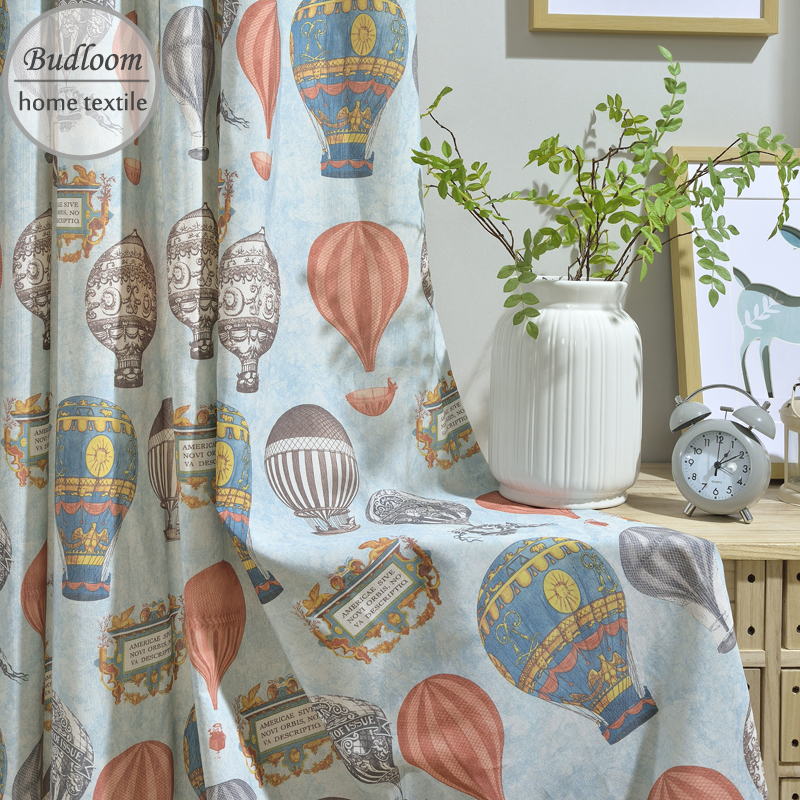 Us 9 50 Off Blue Fire Balloon Printed Curtain For Boys Room Poly Cotton Cartoon Hot Air Living Window D In Curtains