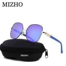 MIZHO 2020 Brand Copper Metal Square Polarized Sunglasses For Women Mirror Blue Luxury Fashion Eyewear Steampunk Visual Oculos