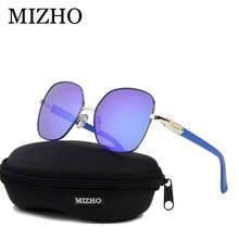 MIZHO 2020 gafas de sol polarizadas cuadradas de Metal y cobre para mujer, gafas azules de espejo de lujo, gafas de moda Steampunk